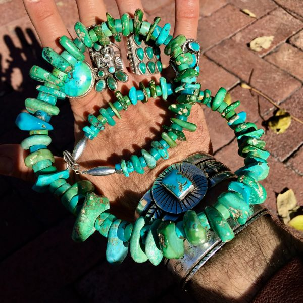 SOLD 1860s-1920s HAND ROLLED HAND FILED PUMP DRILLED TURQUOISE TABS & HEISHI NECKLACE RESTRUNG