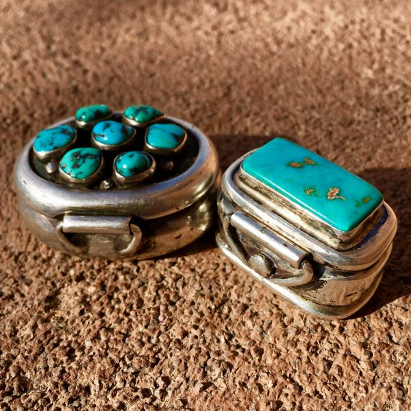 SOLD 1960s SILVER TURQUOISE PILL BOX SET