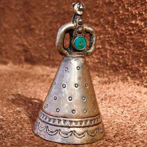 SOLD 1940s STAMPED INGOT SILVER TURQUOISE MOTHER IN LAW BELL PENDANT