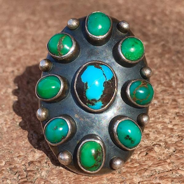 SOLD 1920s ARROW STAMPED CERILLOS TURQUOISE 9 GREEN & BLUE STONE SILVER RING