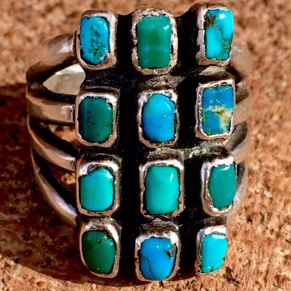 SOLD 1920s SILVER INGOT HUMONGOUS 12 GEM QUALITY BLUE & GREEN TURQUOISE STONE RING