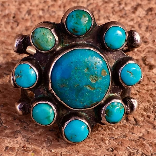SOLD 1920s SUPERB BLUE TURQUOISE 9 ROUND STONE INGOT SILVER RING