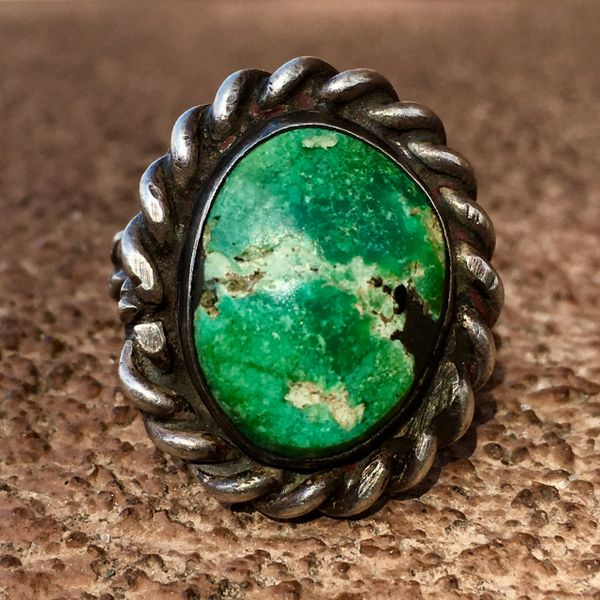 SOLD 1940s SIGNED INGOT SILVER WROUGHT ROPE OVAL GREEN TURQUOISE RING