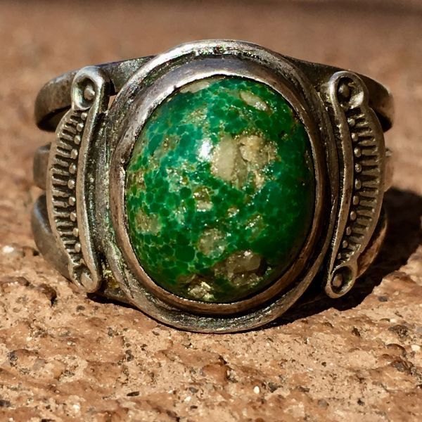 SOLD 1920s SIDE SHIELD SILVER GREEN TURQUOISE WITH QUARTZ RING