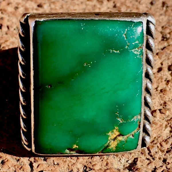 SOLD 1920s SQUARE CERILLOS TURQUOISE ROPE STAMPED SILVER RING