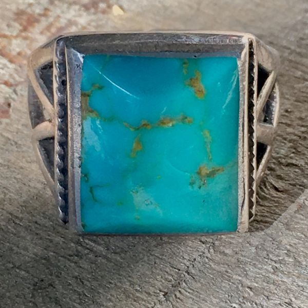 SOLD 1950s SANDCAST SQUARE OPEN BAND LIGHT BRIGHT BEVELED BLUE TURQUOISE RING