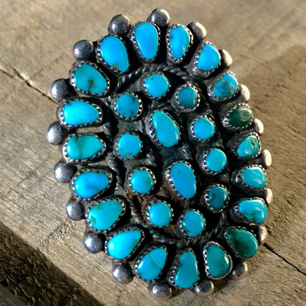 SOLD 1950s SMALL TURQUOISE STONE HUGE SNAKE EYES SILVER RING