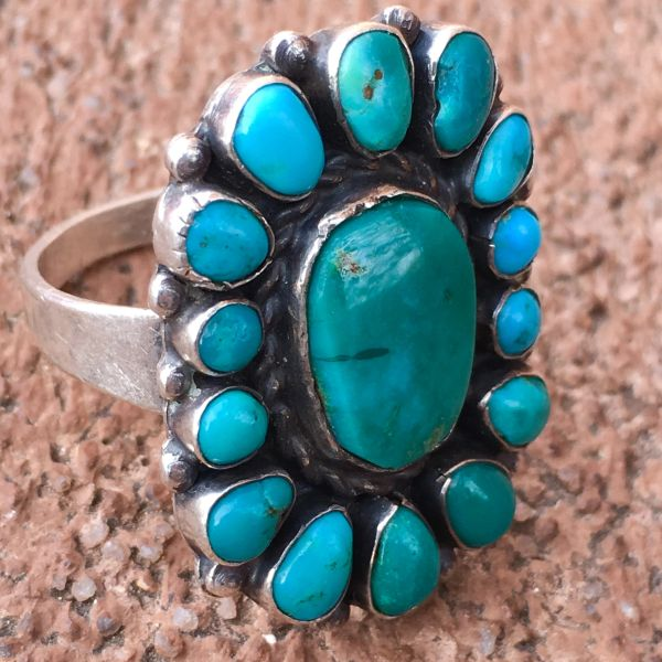 SOLD 1920s BLUE GREEN TURQUOISE 15 STONE INGOT SILVER RING