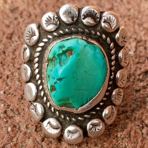 SOLD 1930s FINGER LONG HEAVY INGOT SILVER LIGHT BRIGHT BLUE GREEN TURQUOISE STAMPED FLORAL RING