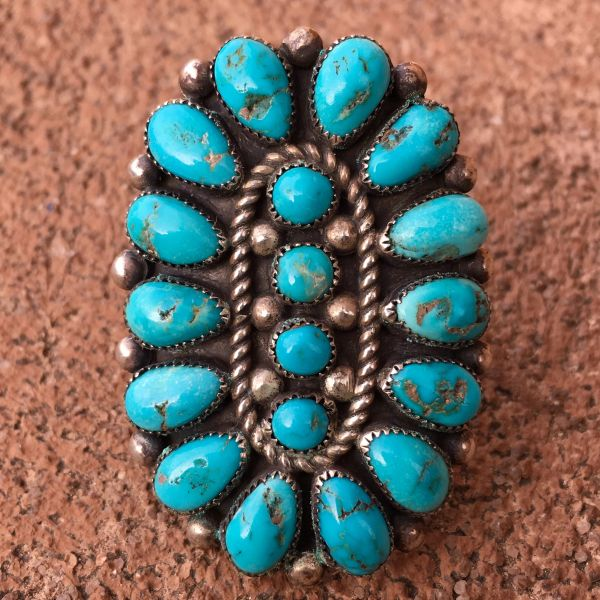 SOLD 1950s GINORMOUS BRIGHT BLUE TURQUOISE STONE SILVER RING
