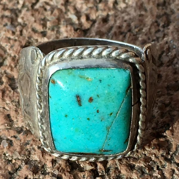 SOLD 1930s LIGHT BLUE SQUARE TURQUOISE INGOT SILVER STAMPED SIDE SHIELDS MENS PINK RING