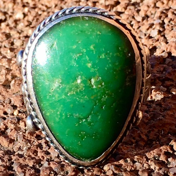 "SOLD 1940s ""ME TOO 12/25/42"" GREEN DROP SHAPES TURQUOISE STAMPED SILVER FRED HARVEY ERA RING"