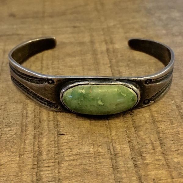 SOLD 1900s INGOT SILVER & OVAL GREEN TURQUOISE CHILD'S BRACELET