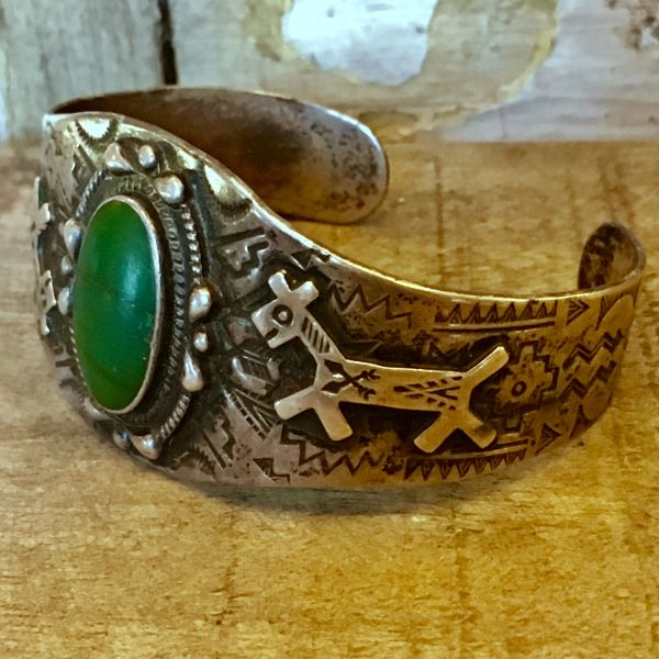 SOLD 1920s ELABORATELY STAMPED INGOT SILVER & APPLIED DOGS OVAL GREEN CERILLOS TURQUOISE CUFF