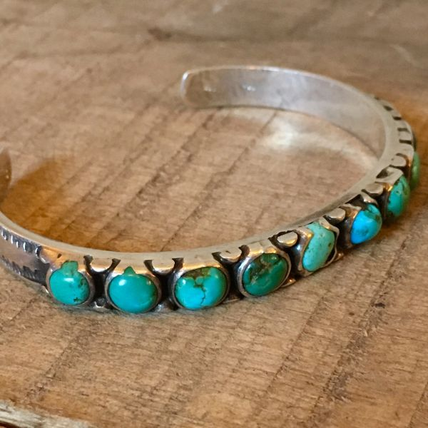 SOLD 1920s WELL WORN BLUE GREEN TURQUOISE INGOT STAMPED SILVER SMALL WRIST CUFF