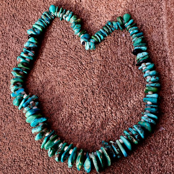 SOLD 1800s JUMBO JET, SHELL & TURQUOISE TAB MEDICINEMAN NECKLACE
