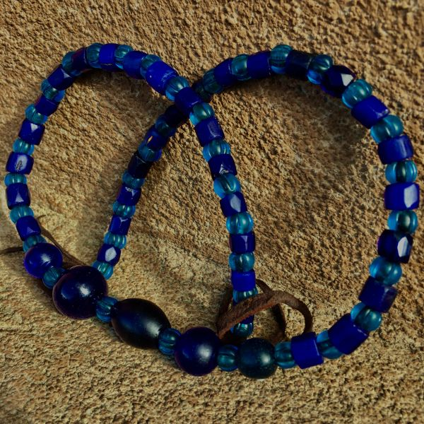 SOLD 1700s - 1800s ALL AMERICAN TRADE BEADS with MANDREL WOUND COBALT, RUSSIAN BLUES, & NEON BLUE NAGALAND MELON BEADS