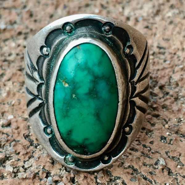 SOLD 1920s CIGAR BAND CHISELED SILVER INGOT CERILLOS TURQUOISE RING