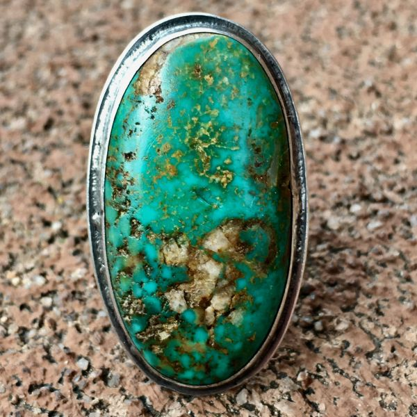 SOLD 1930s FINGER LONG LOW PROFILE GREEN BLUE OVAL TURQUOISE with QUARTZ RING