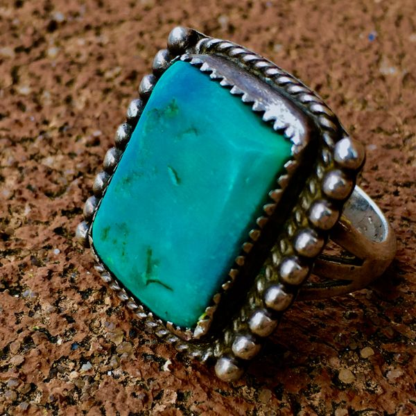 SOLD 1930s BIG BEVELED BLUE TURQUOISE RECTANGLE SILVER RING