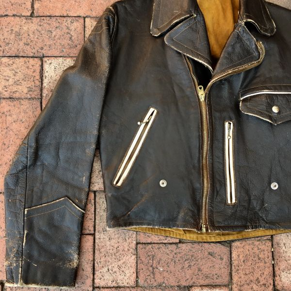 SOLD 1950s GERMAN LEATHER BIKER JACKET 38