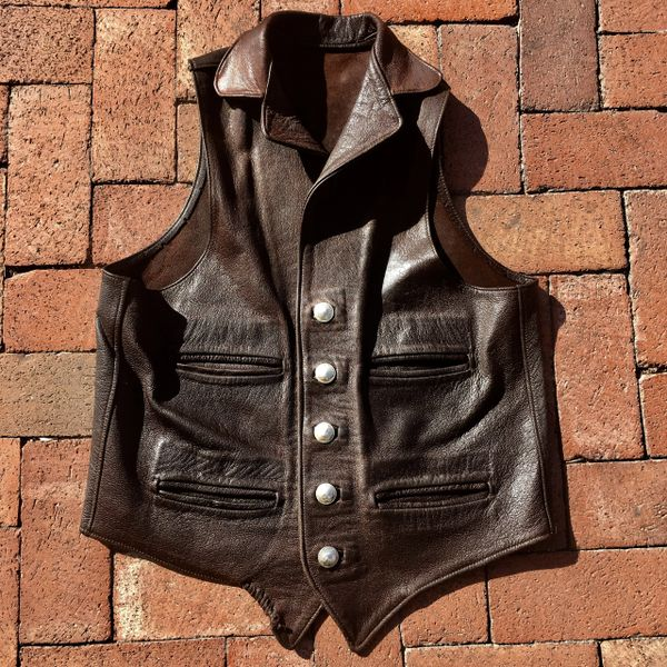 SOLD 1980s OILED BUFFALO WESTERN VEST 42