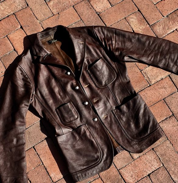 SOLD 2016 RRL BUFFALO 1910s BLAZER HEAVILY OILED, BUFFED & with 1900 NAVAJO CHISELED SILVER COIN CONCHO BUTTONS