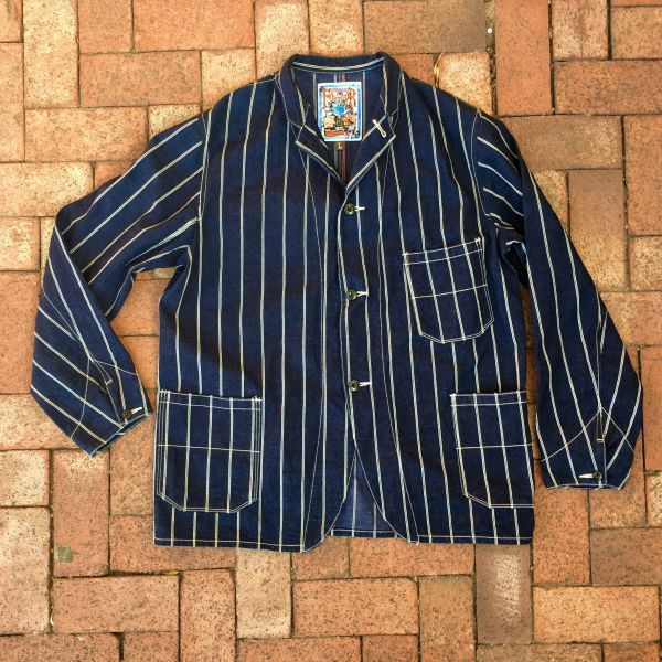 SOLD JAPAN PINSTRIPED INDIGO DENIM CHORE COAT by FREEWHEELERS JAPAN