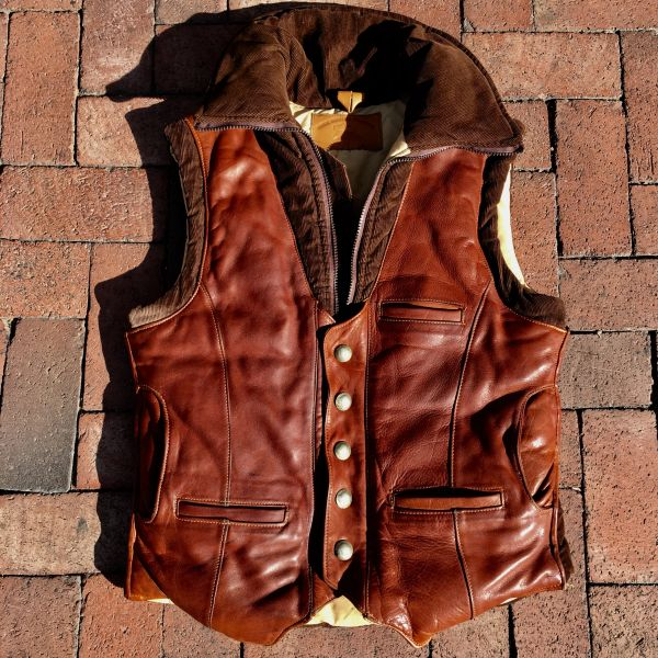 SOLD 1980s BUFFALO LEATHER CORDUROY PUFFER VEST
