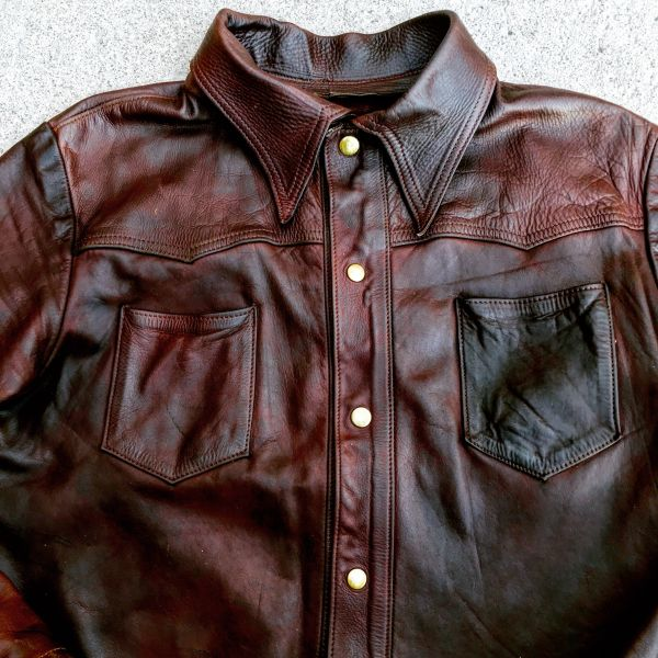 SOLD 1970s MAYBE LEVIS 201 OILED DISTRESSES LEATHER WESTERN SHIRT 38