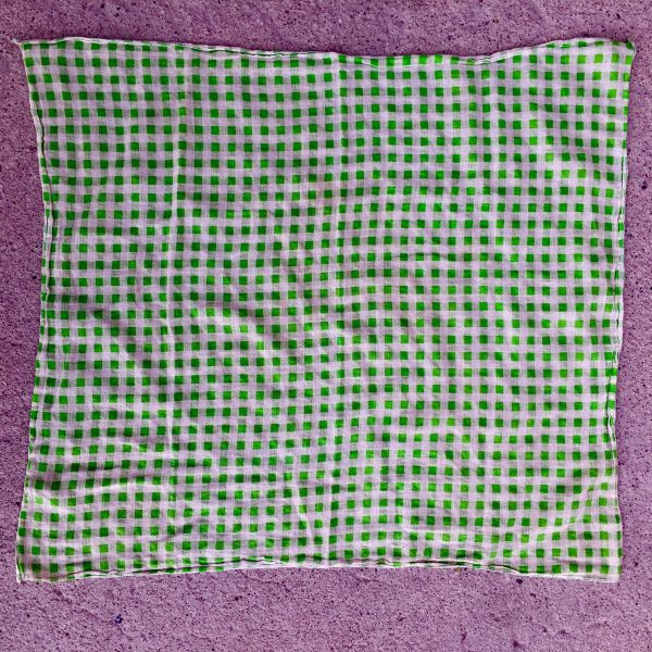 SOLD GREEN GAUZE GINGHAM KOREAN BANDANNA
