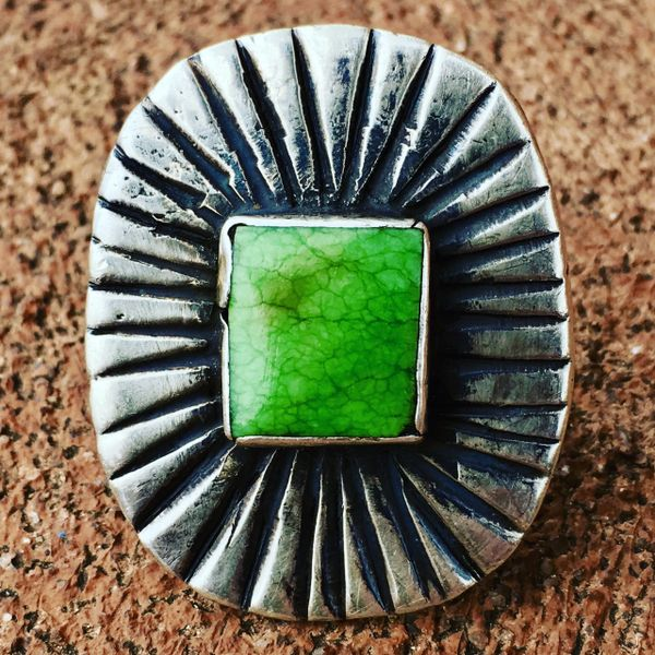SOLD 1870s FIRST PHASE NAVAJO TURQUOISE INGOT SILVER CONCHO FROM A CUFF CONVERTED 1920s