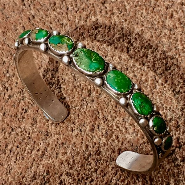 SOLD 1920s HUMONGOUS MENS CERILLOS TURQUOISE SILVER CUFF