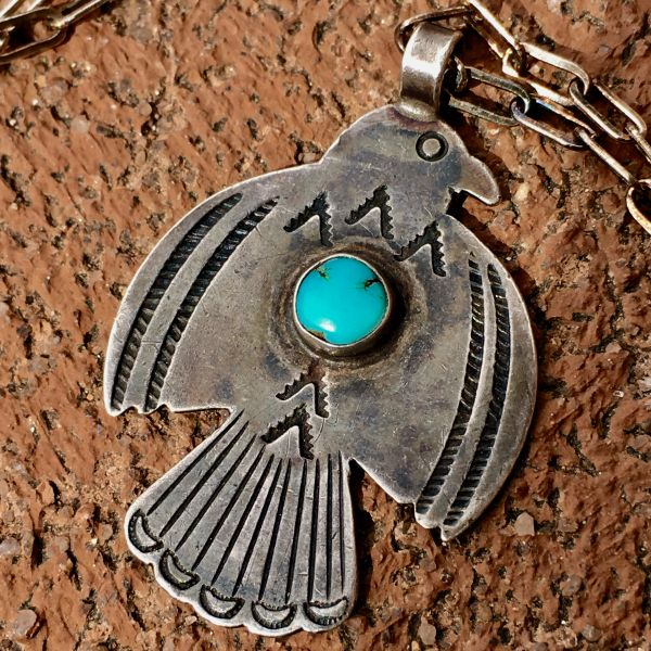 SOLD 1920s SMALL - MEDIUM SIZED SILVER TURQUOISE STAMPED FRED HARVEY ERA THUNDERBIRD PENDANT ON NEW CHAIN