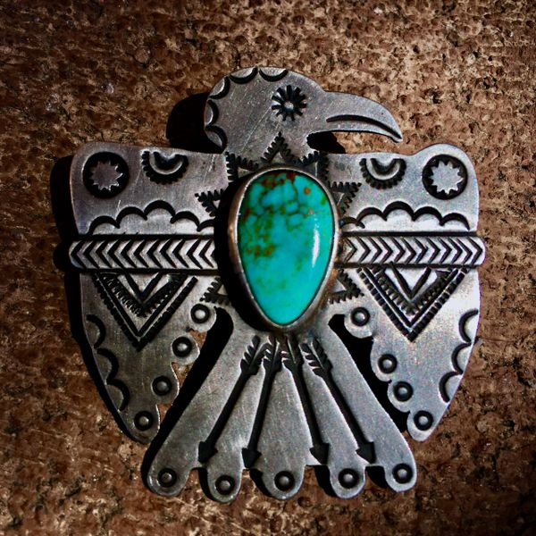 SOLD REPRODUCTION1920s INGOT SILVER TURQUOISE THUNDERBIRD PIN