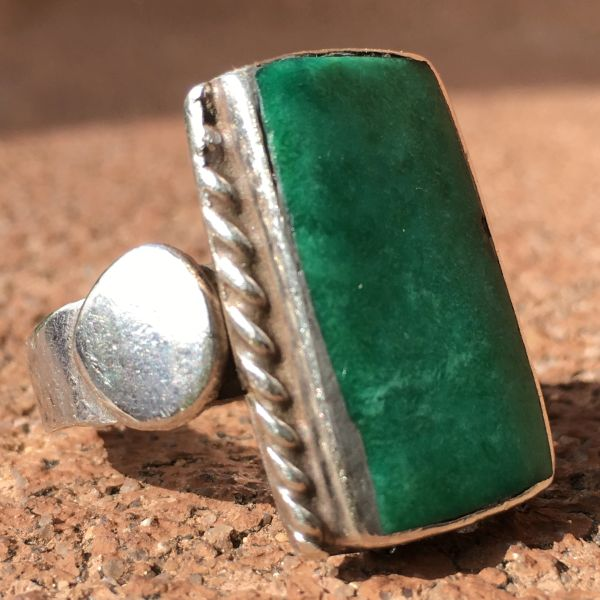 SOLD 1920s INGOT SILVER LONG GREEN RECTANGLE TURQUOISE RING