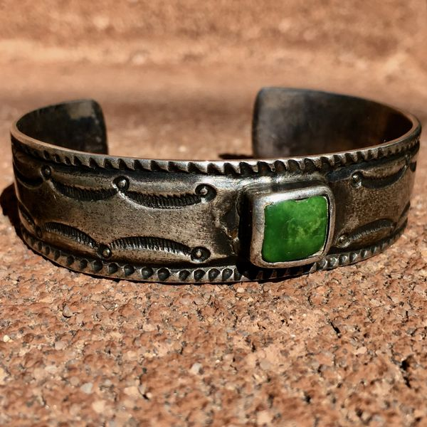 SOLD 1914 JANUARY ARIZONA GREEN SQUARE TURQUOISE SILVER INGOT STAMPED CUFF BRACELET