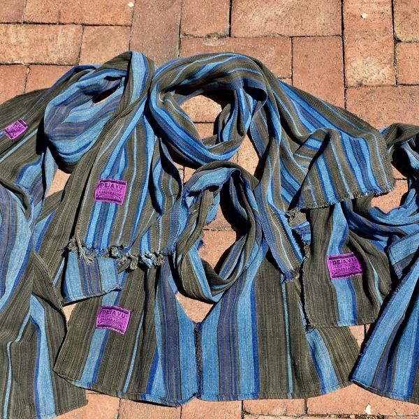 1900s SLIM HAND DYED INDIGO BROWN & BLUE SCARF
