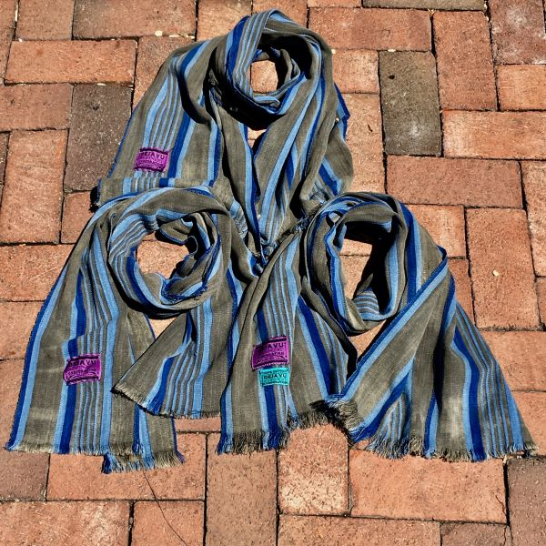 1900s SLIM HAND DYED INDIGO GREY & BLUE SCARF