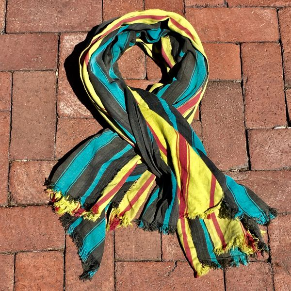 SOLD 1800S THIN HAND DYED YELLOW, PINK & BLUE SCARF