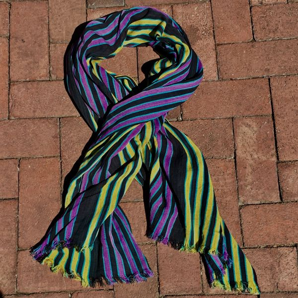 SOLD 1900s THIN HAND DYED PURPLE, YELLOW, BLACK & BLUE SCARF