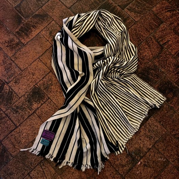 SOLD 1900s LONG HAND DYED BLACK & WHITE STRIPED SCARF