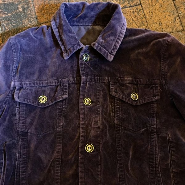 SOLD PURPLE COTTON VELVET TRUCKER JACKET HEAVY BRASS BUTTONS