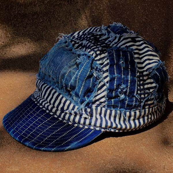 SOLD SHASHIKO BORO DEPRESSION ERA STRIPED & WABASH DENIM CAP
