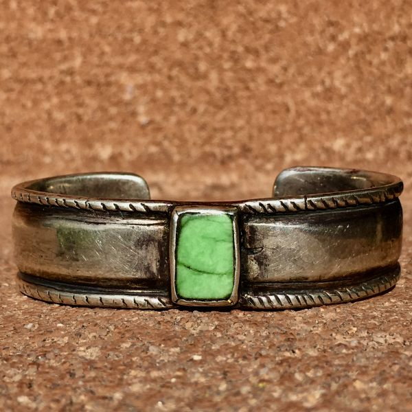 SOLD 1870s CHISELED INGOT COIN SILVER CUFF WITH RECTANGLE GREEN TURQUOISE