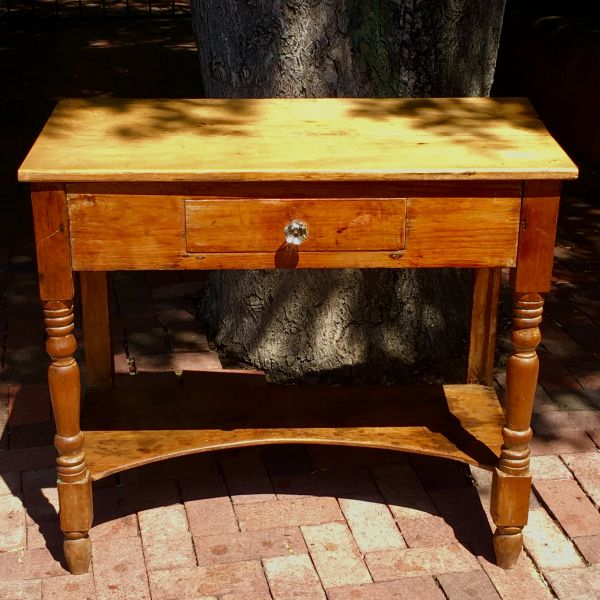 SOLD 1840s NEW MEXICAN PINE BEDSIDE TABLE WITH LONG DRAWER