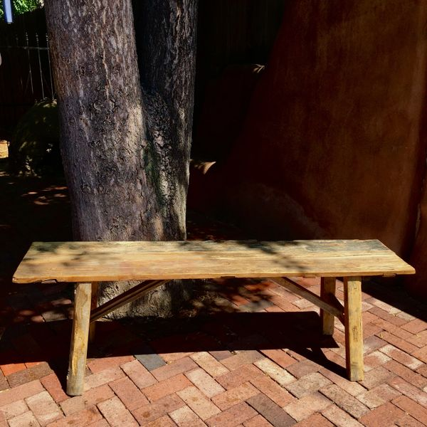 SOLD EXTRA STURDY ANTIQUE BOARDS CONTEMPORARY CONSTRUCTION ASIAN LONG PRIMITIVE BENCH