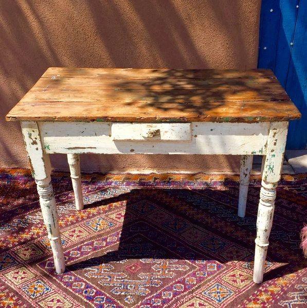 SOLD 1830s RUSTIC PRIMITVE COUNTRY FARM PINE DESK TABLE