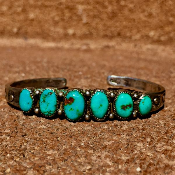 SOLD 1920s INGOT SILVER HANDCUT BEZELS VIVID BLUE TURQUOISE 6 STONE STAMPED CUFF