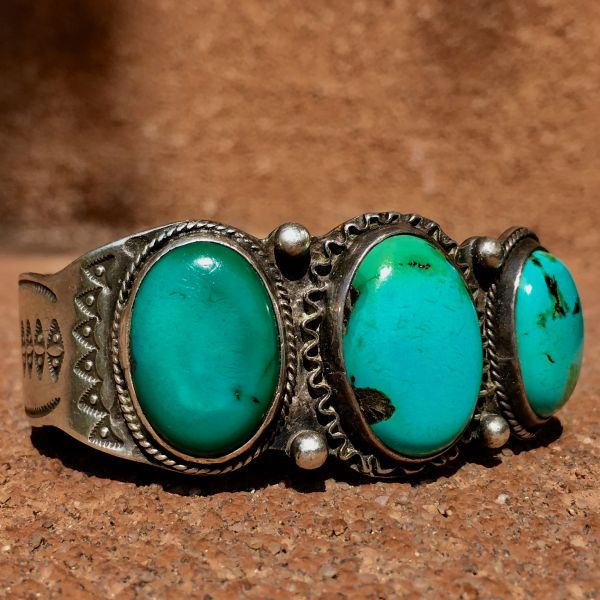 SOLD 1920s INGOT SILVER STAMPED 3 BIG TURQUOISE BLUE GREEN STONES